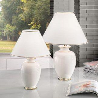 ceramiczna kremowa lampa stołowa na stolik