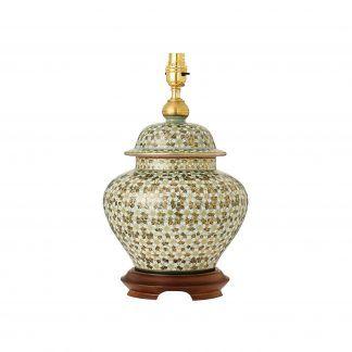 ceramiczna lampa stołowa w kwiaty ze złoceniami
