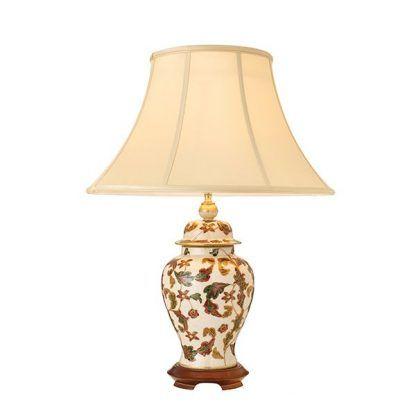 ceramiczna lampa stołowa w liście podstawa z drewna