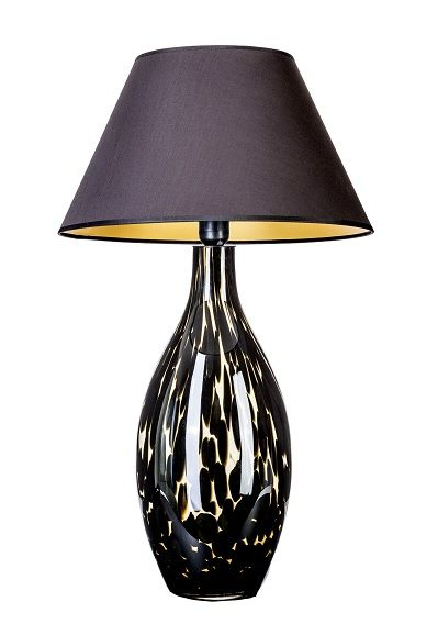 ceramiczna lampa stołowa z abażurem w kolorze czarnym