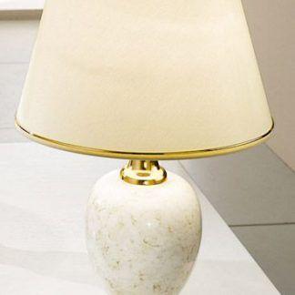 ceramiczna lampa stołowa ze złotymi detalami - marmurowa