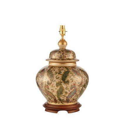 ceramiczna ręcznie malowana złocona lampa stołowa