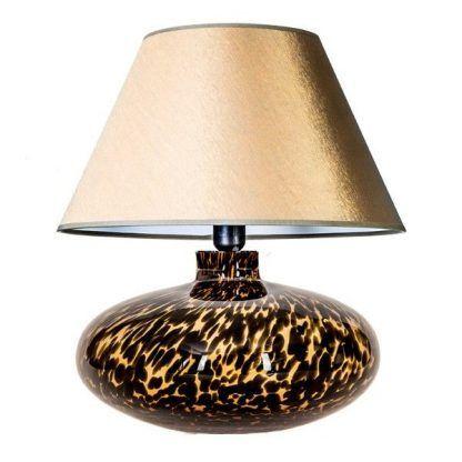 cętkowana lampa ceramiczna ze złotym abażurem do sypialni