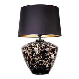 cętkowana lampa stołowa w podstwie z abazurem miedzianym