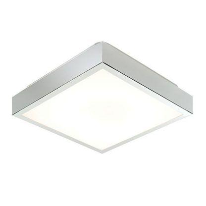 chromowy kwadratowy srebrny plafon z białym kloszem
