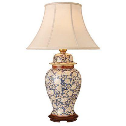 chrysanthe ceramiczna lampa stołowa w kwiaty