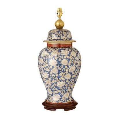 chrysanthe lampa stołowa w chryzantemy granatowa