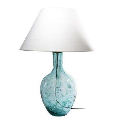 ciekawa lampa stołowa - biały abażur - błękitna podstawa szklana