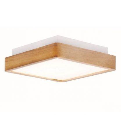 ciekawy drewniany plafon led do łazienki lub kuchni
