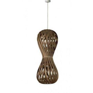 ciemna lampa wiszaca wykonana z drewna