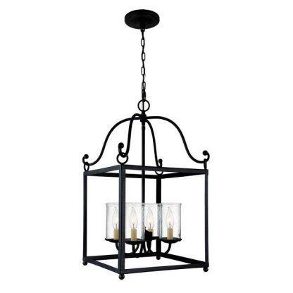 Ciemna metalowa rama lampy ze świecznikami
