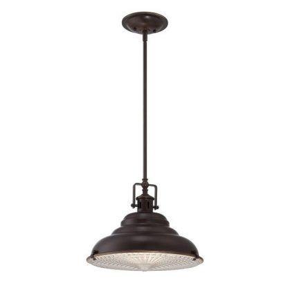 ciemno brązowa lampa wisząca w stylu industrialnym do kuchni