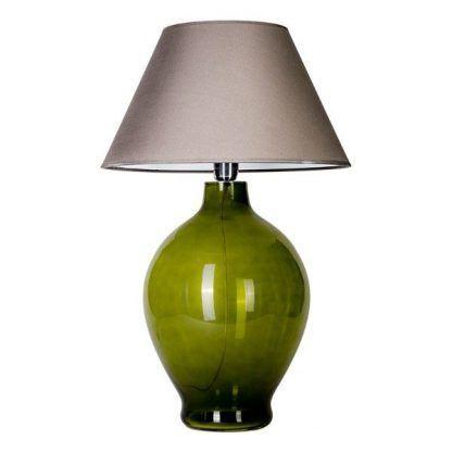 ciemno zielona lampa stołowa z abażurem ecru