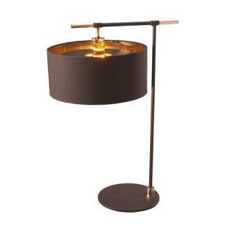 ciemnobrązowa lampa stołowa abażur złoty w środku
