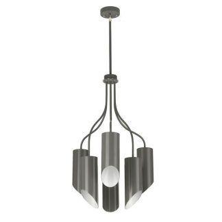 Ciemnoszara lampa wisząca z kloszami w kształcie tuby