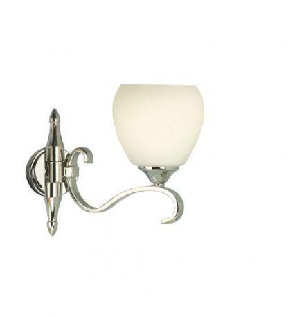 columbia kinkiet srebrny połysk z białym kloszem