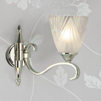 columbia kinkiet w srebrnym połysku, szklany klosz