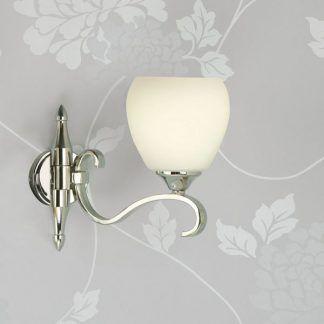 columbia srebrny kinkiet z kloszem z mlecznego szkła