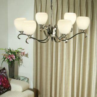 columbia srebrny żyrandol połysk aranżacja salon