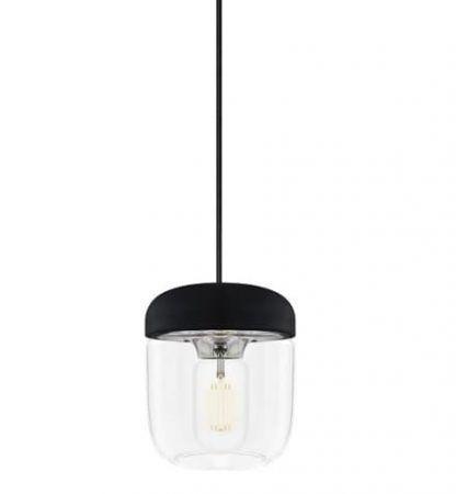 czarna bezbarwna lampa wisząca ze szkła umage
