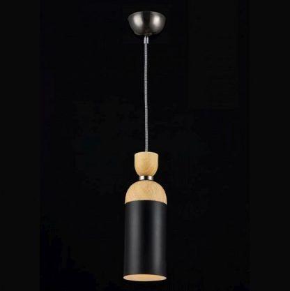 czarna drewniana lampa wisząca z naturalnego drewna