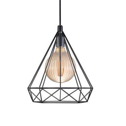 czarna druciana lampa wisząca z dekoracyjną żarówką