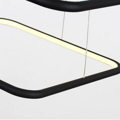 czarna geometryczna lampa wisząca z modułem led