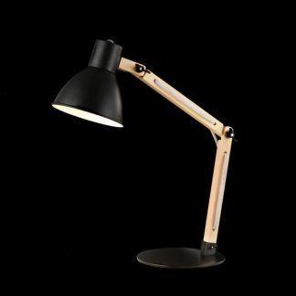 czarna lampa biurkowa na nóżce z drewna