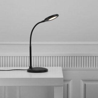 czarna lampa biurkowa nowoczesna led