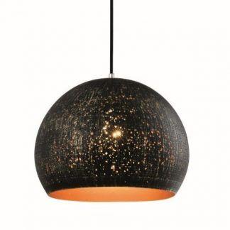 czarna lampa kula z przecieranym kloszem