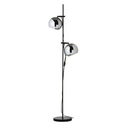 czarna lampa podłogowa srebrne klosze kule