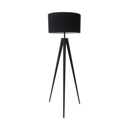czarna lampa podłogowa z abażurem - elegancka nowoczesna