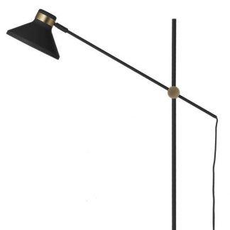 czarna lampa podłogowa ze złotymi detalami