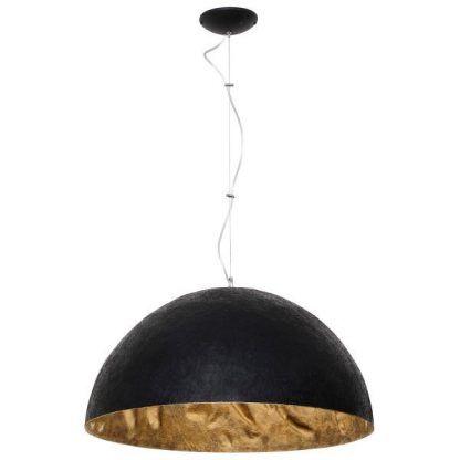 Czarna lampa półkula ze złotym wypełnieniem