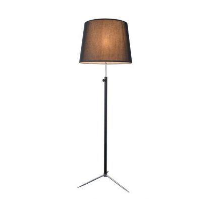 czarna lampa stojąca na 3 nogach z czarnym abażurem
