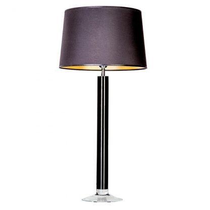 czarna lampa stołowa z abażurem do sypialni
