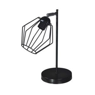 Czarna lampa stołowa z ażurowym kloszem z prętów