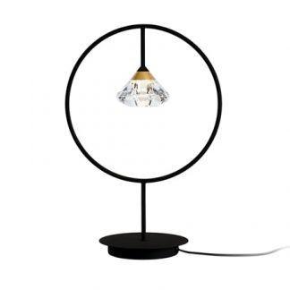 czarna lampa stołowa z diamencikiem w środku