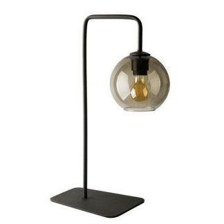czarna lampa stołowa z kloszem z barwionego szkła