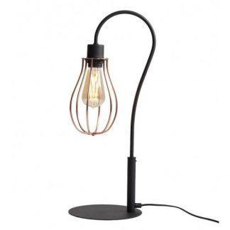czarna lampa stołowa z miedzianym kloszem