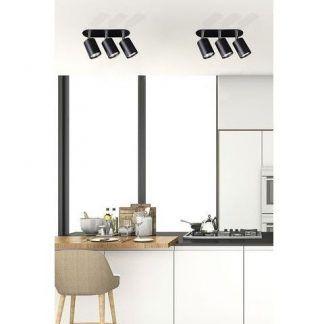 czarna lampa sufitowa do białej kuchni aranżacja