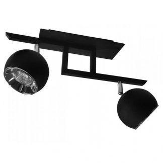 czarna lampa sufitowa na 2 żarówki z kulkami