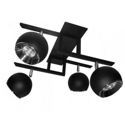 czarna lampa sufitowa na 4 żarówki do pokoju