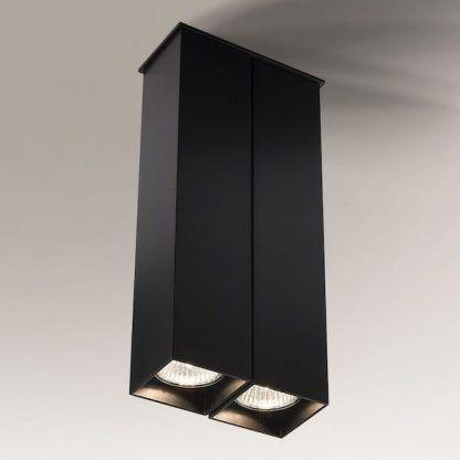 czarna lampa sufitowa podłużne klosze