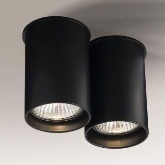 czarna lampa sufitowa szeroka tuba nowoczesna