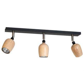 czarna lampa sufitowa z drewnianymi reflektorkami