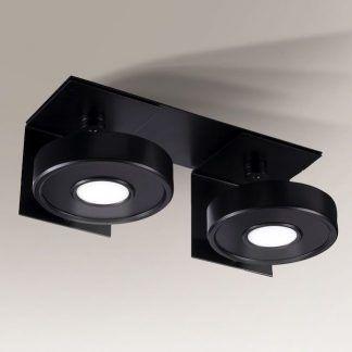 czarna lampa sufitowa z płaskimi okrągłymi kloszami