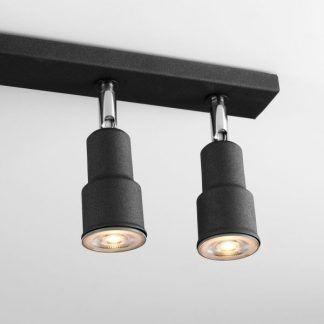 czarna lampa sufitowa z reflektorami nowoczesna