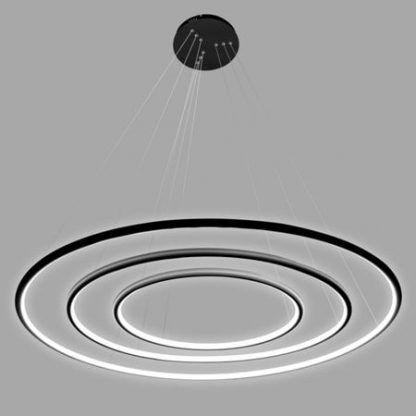 czarna lampa wisząca 3 okręgi led do salonu