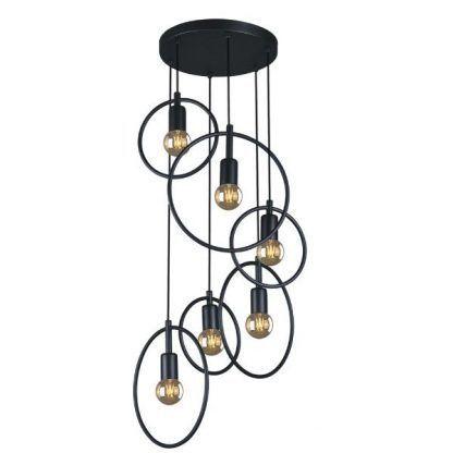 czarna lampa wisząca ażurowe okręgi do salonu